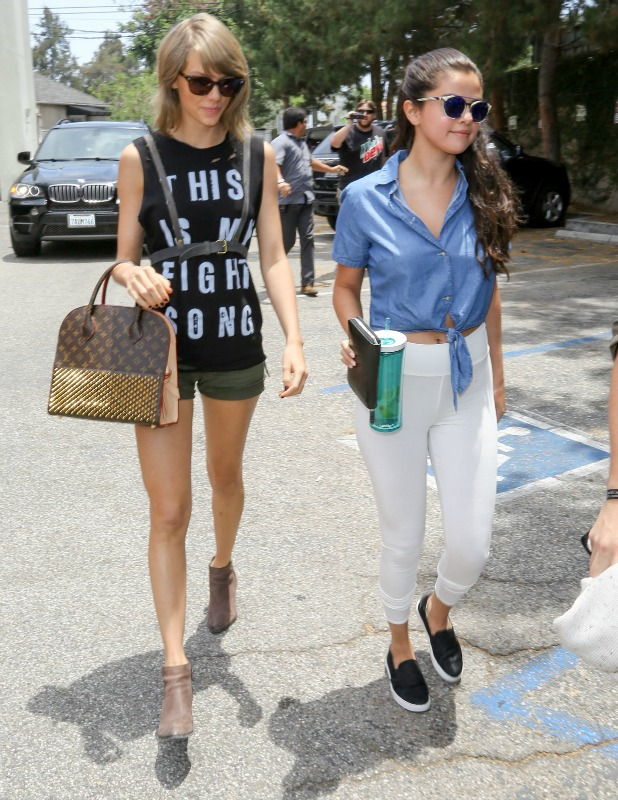 Taylor Swift and Selena Gomez are seen in Hollywood on June 16, 2015 in Los Angeles, California. (Photo by Bauer-Griffin/GC Images)