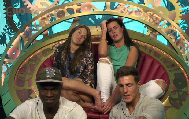 Nikki Grahame, Helen Wood, Brian Belo and Marc O'Neill selecting their nominations for eviction in the diary room on 'Big Brother'. Broadcast on Channel 5 HD - 19 June 2015.
