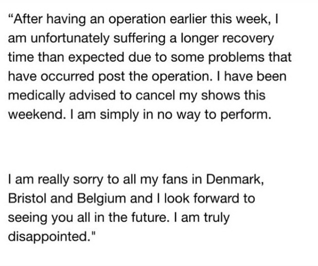 Jessie J forced to cancel gigs after operation, 26 June 2015