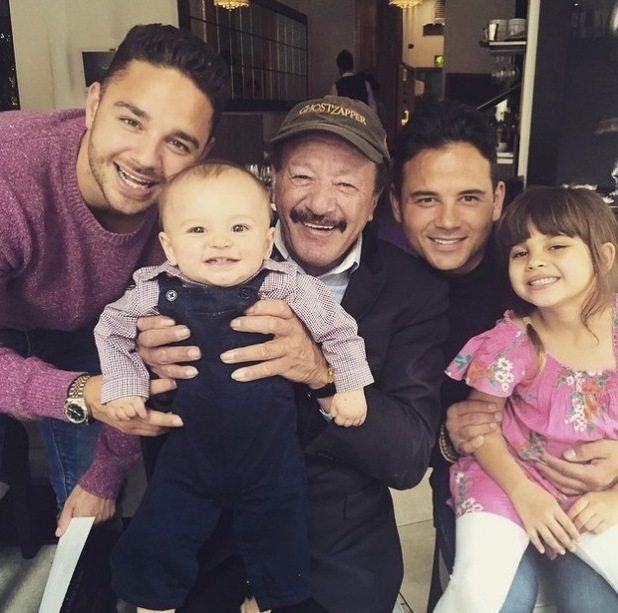 Coronation Street star RyanThomas joined by his brother, Emmerdale actor Adam Thomas and his son Teddy, as well as their dad on Father's Day - 21 June 2015.