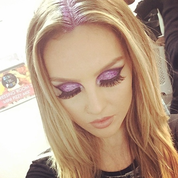 Little Mix's Perrie Edwards shares picture of her glittery make-up to Instagram 22nd June 2015
