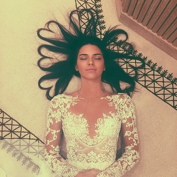 Kendall Jenner breaks Kimye's Instagram record with this picture of her hair, May 2015