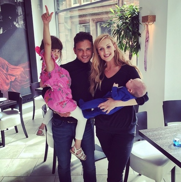 Coronation Street star Catherine Tyldesley bumps into Ryan Thomas on Father's Day - 21 June 2015.