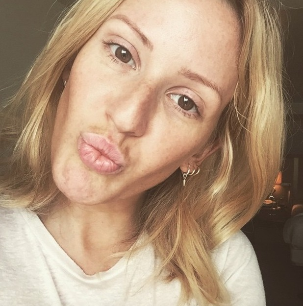 Ellie Goulding shows off glowing, freckly skin after a week of no booze and no make-up, 12 June 2015