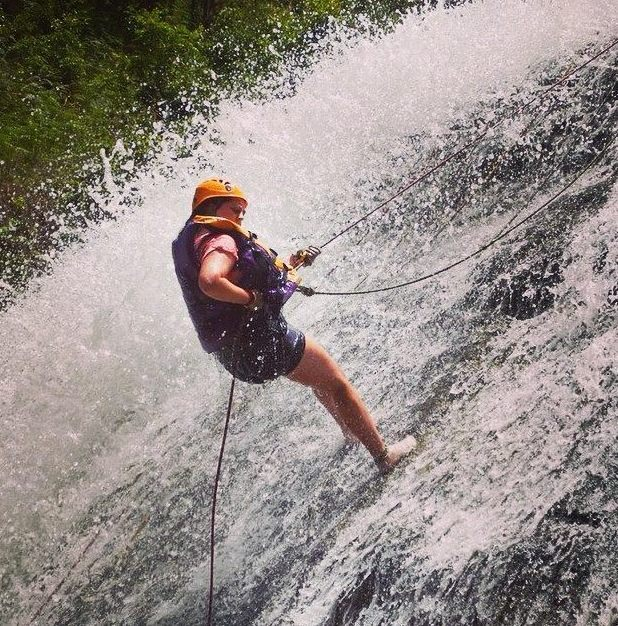 Lucy abseiling down a waterfall, 23/6/15