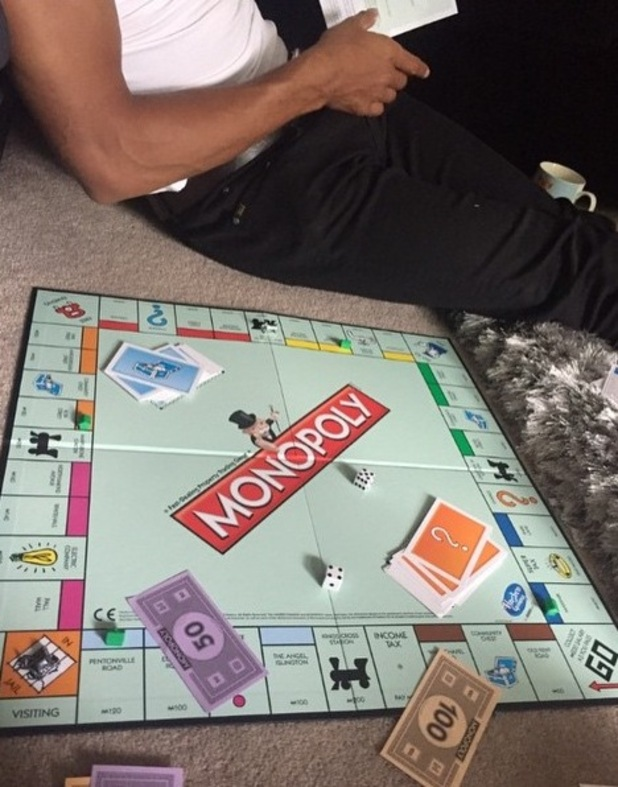 Pregnant Helen Flanagan plays Monopoly board game as she waits for the birth of her child - 23 June 2015.