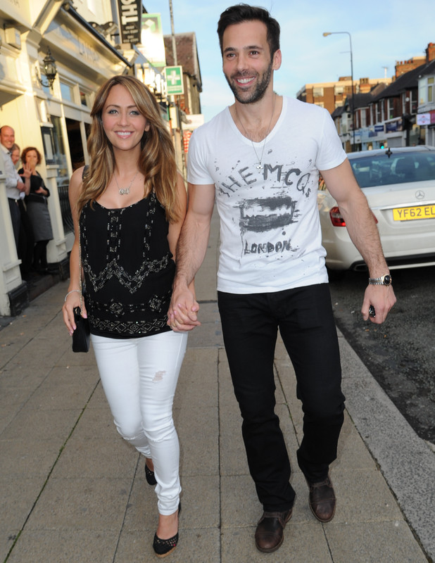 Pregnant Samia Ghadie and Sylvain Longchambon arrive at Victor's restaurant in Hale, Cheshire, 26 June 2015