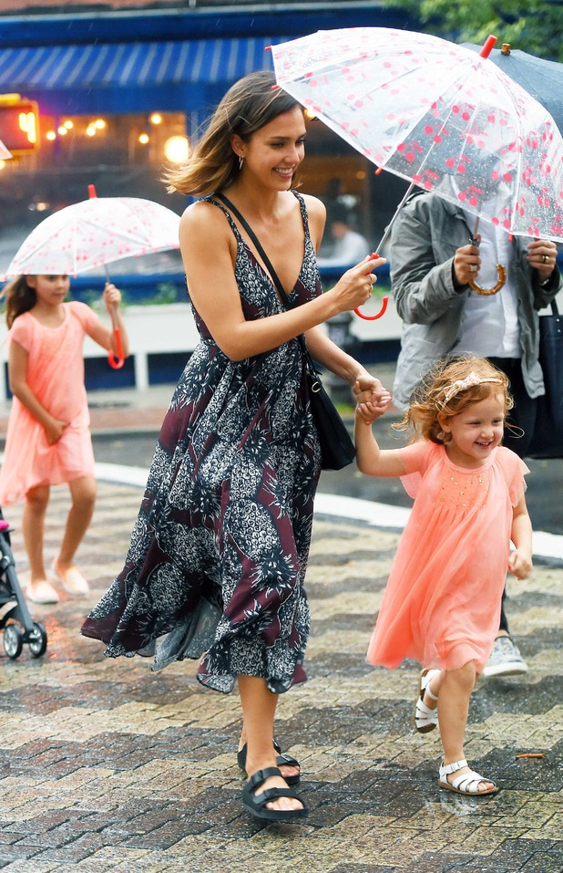 Jessica Alba out and about in New York with daughters Haven and Honor 23rd June 2015