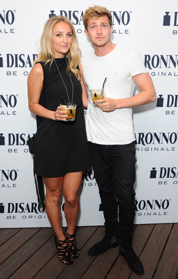 Tiffany Watson and Sam Thompson at the launch of the DISARONNO Terrace at London's Golden Bee on June 24, 2015 in London, England.