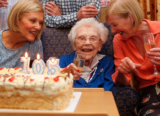 Elizabeth Dempsey celebrates her 105th birthday at Ailesbury Nursing Home in Dublin, with her nieces Miriam Scott (left) and Anita Fitzgibbon 23 Jun 2015