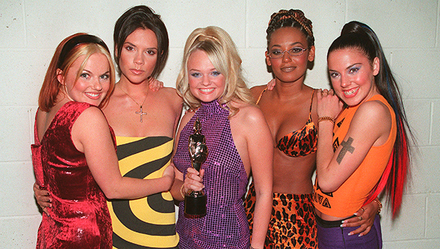 The Spice Girls L to R Geri Halliwell, Victoria Adams, Emma Bunton, Melanie Brown and Melanie Chisholm at the Brit Awards. (Photo by Dave Hogan/Getty Images)