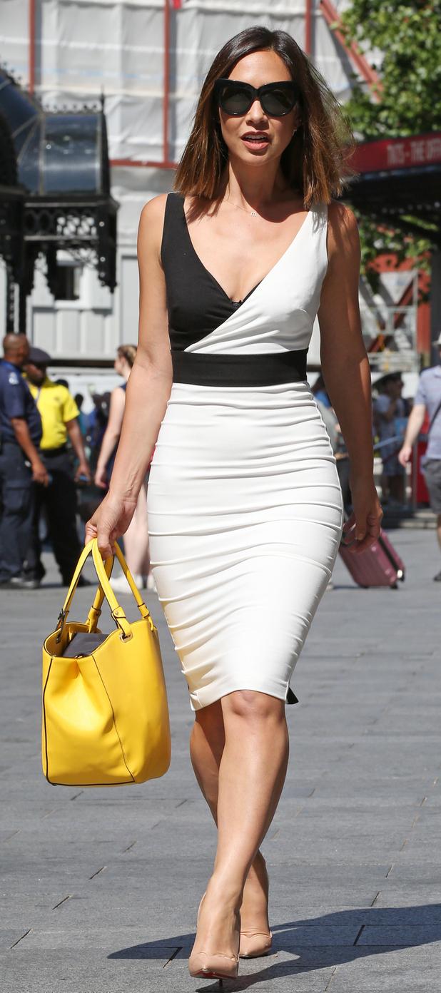 Myleene Klass in London wearing two-tone dress 1st July 2015