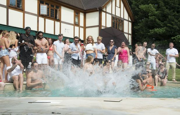 The Only Way is Essex' cast filming - Peter Wicks jumps in the pool - 1 Jul 2015.
