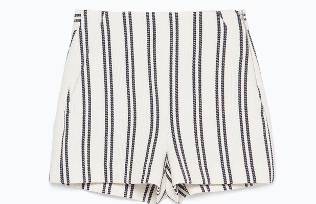 Zara high-waisted striped shorts, £19.99, 30th June 2015