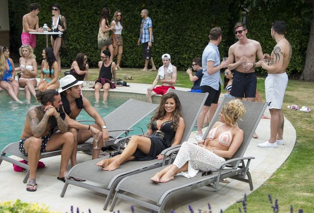 The Only Way is Essex' cast filming - Peter Wicks at the cast pool party - 1 Jul 2015.