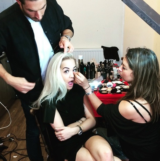 Rita Ora etting hair and make-up done at Wireless Festival 2015 in London's Finsbury Park, shares a picture to Instagram 29th June 2015
