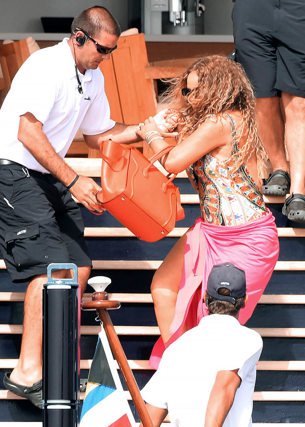Mariah Carey almost takes a tumble on the steps in Ibiza - 1 July 2015.