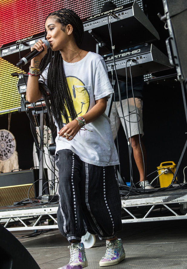 Jhene Aiko on stage at Wireless Festival Pre Festival Birthday Party 29th June 2015