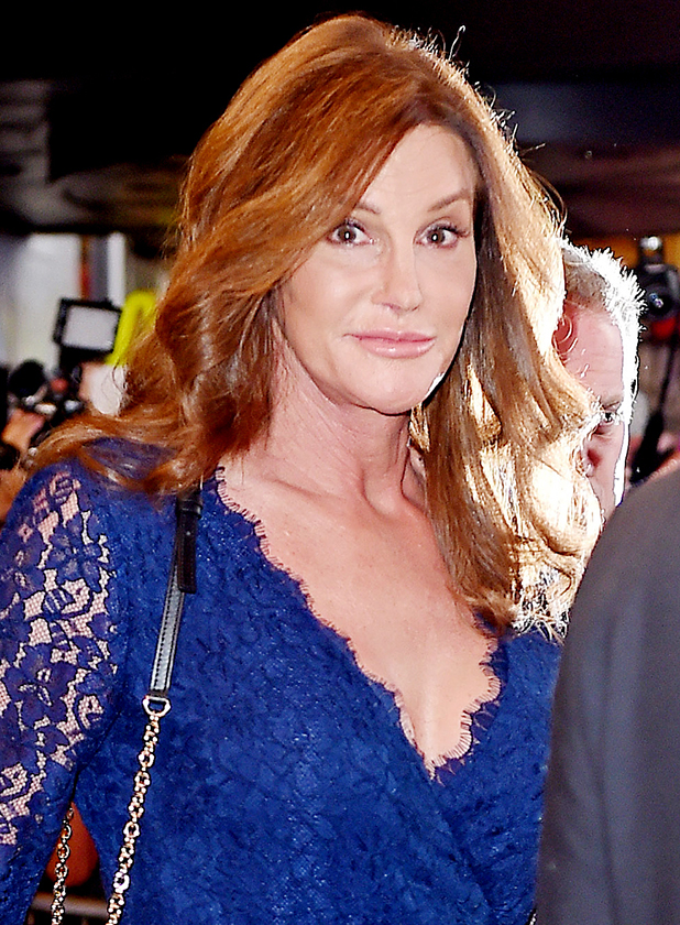 Caitlyn Jenner seen leaving 'An American in Paris' Broadway show in a bright blue lace dress on June 30, 2015 in New York, New York.