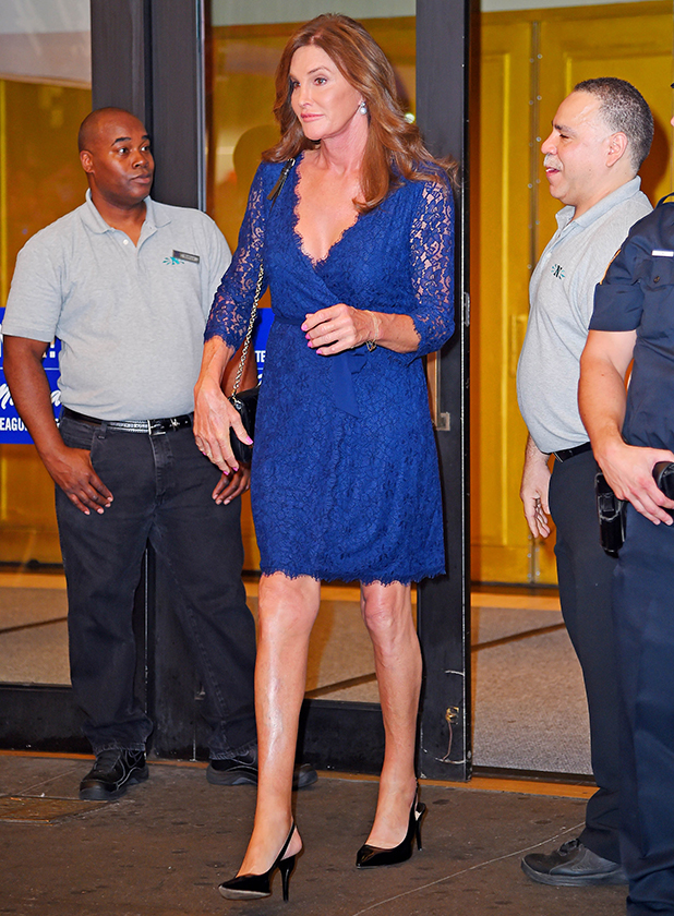 Caitlyn Jenner seen leaving 'An American in Paris' Broadway show in a bright blue lace dress on June 30, 2015 in New York, New York. (Photo by Josiah Kamau/BuzzFoto via Getty Images)