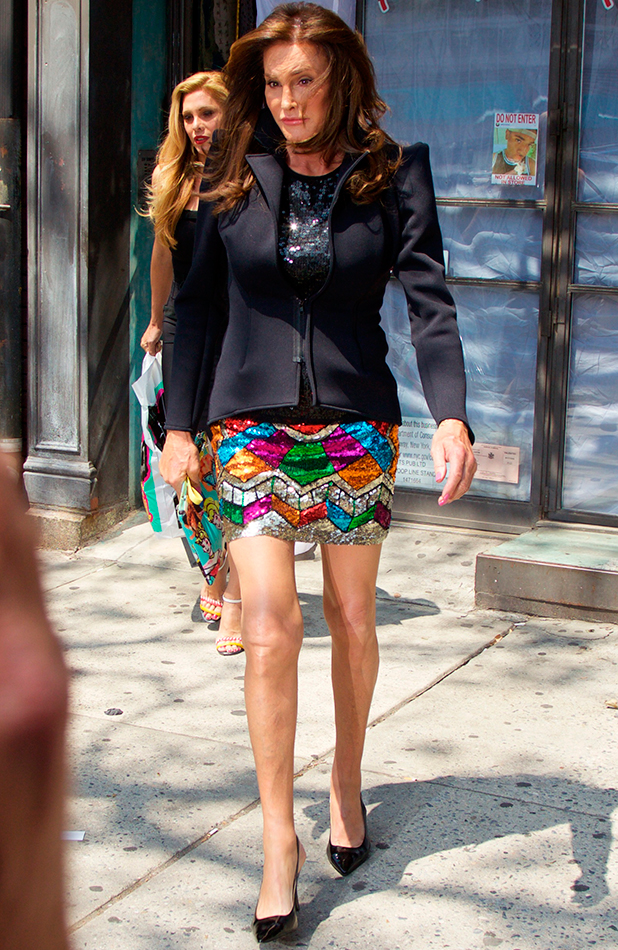 Caitlyn Jenner leaves American costume designer Patricia Field's store wearing a brightly colored sequin skirt, a different outfit from the one she was seen wearing earlier in the morning when arriving at the boutique