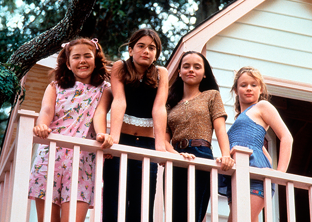 Ashleigh Aston Moore, Gaby Hoffmann, Christina Ricci and Thora Birch looks over a balcony in a scene from the film 'Now And Then', 1995. (Photo by New Line Cinema/Getty Images)