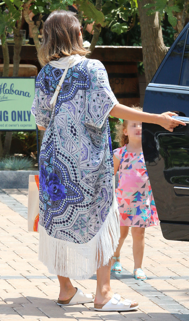 Jessica Alba on outing with daughters Honor and Haven, back of her paisley print kimono, 6th July 2015