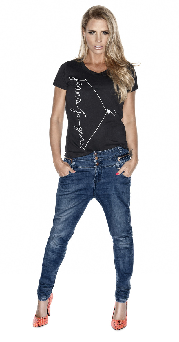 Katie Price models Jeans for Genes day t-shirt 8th July 2015