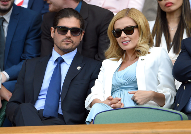 Pregnant Katherine Jenkins and husband Andrew Levitas attend day eight of the Wimbledon Tennis Championships at Wimbledon on July 7, 2015 in London, England.