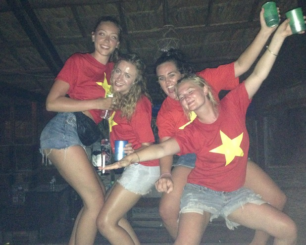 Partying at Castaway tour in Halong Bay, Vietnam,  11/7/15