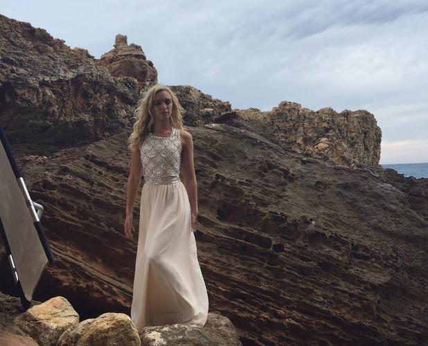 Model wearing Boohoo.com dress in Ibiza 10th July 2015