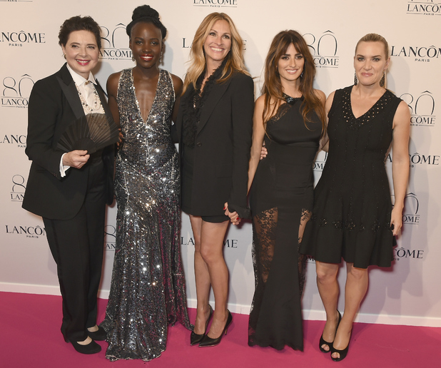 Lupita Nyong'o, Kate Winsley, Julia Roberts, Isabella Rossellini, Penelope Cruz at the Lancome Anniversary party in Paris 8th July 2015