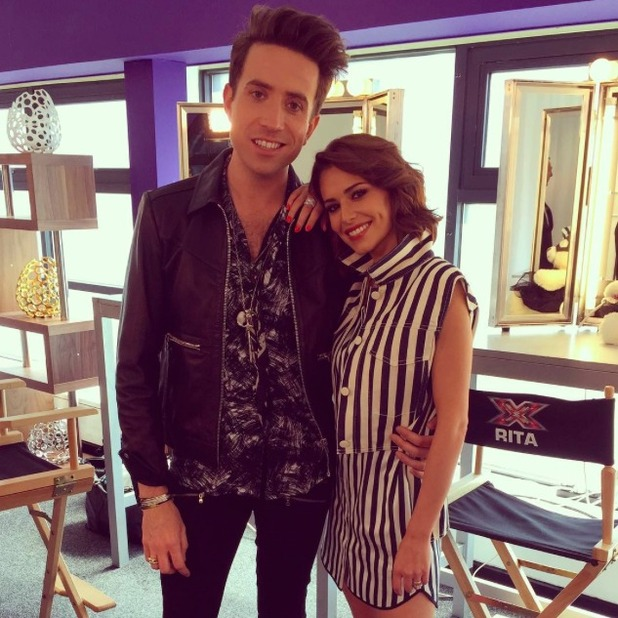 Cheryl Fernandez-Versini and Nick Grimshaw behind the scenes of The X Factor, 11 July 2015