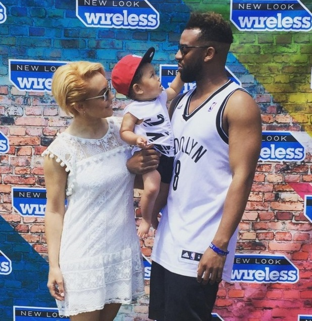 Oritsé Williams attends Day 2 of the New Look Wireless Festival with girlfriend AJ Azari and their son Omré - 4 July 2015.