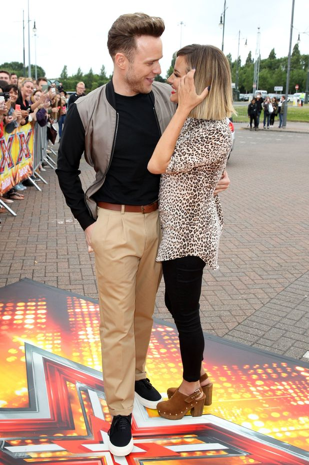Olly Murs and Caroline Flack arrive at Event City, Trafford Park, Manchester for the X Factor Audtions - 8 July 2015.