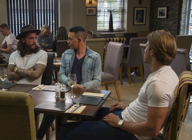 'The Only Way is Essex' cast filming, Britain - 07 Jul 2015 Peter Wicks, Bobby Cole Norris and James Lock