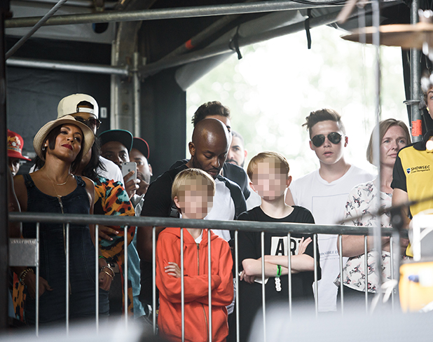 Jada Pinkett Smith, Drake and Brooklyn Beckham look on in support as Willow Smith and Jaden Smith perform on day 3 of the New Look Wireless Festival at Finsbury Park on July 5, 2015 in London, England. (Photo by Joseph Okpako/WireImage)