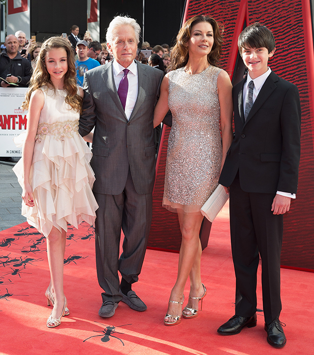 Carys Douglas,Michael Douglas,Catherine Zeta Jones and Dylan Douglas attend the European Premiere of Marvel's 'Ant-Man' at Odeon Leicester Square on July 8, 2015 in London, England. (Photo by Dave J Hogan/Getty Images)