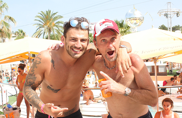 Jake Quickenden and Foggy at Ocean Beach Ibiza July 2015