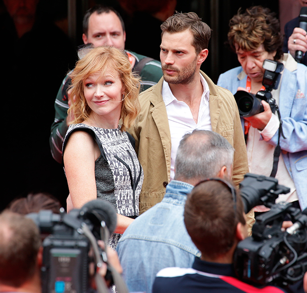 Anthropoid' photocall in Prague Jamie Dornan and Ana Geislerova face the press