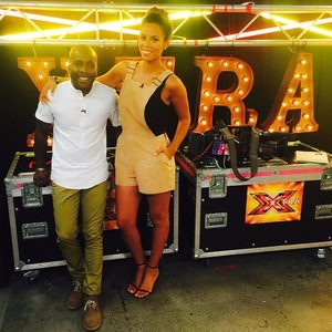 Rochelle Humes and Melvin Odoom at X Factor's Wembley auditions 15 July