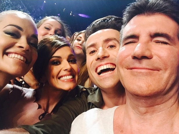 Cheryl Fernandez-Versini, Simon Cowell, Rita Ora and Nick Grimshaw take a selfie, X Factor auditions, Wembley 16 July