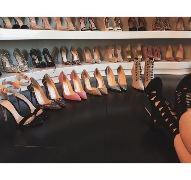 Kylie Jenner shares picture of her shoe wardrobe to Instagram 13th July 2015