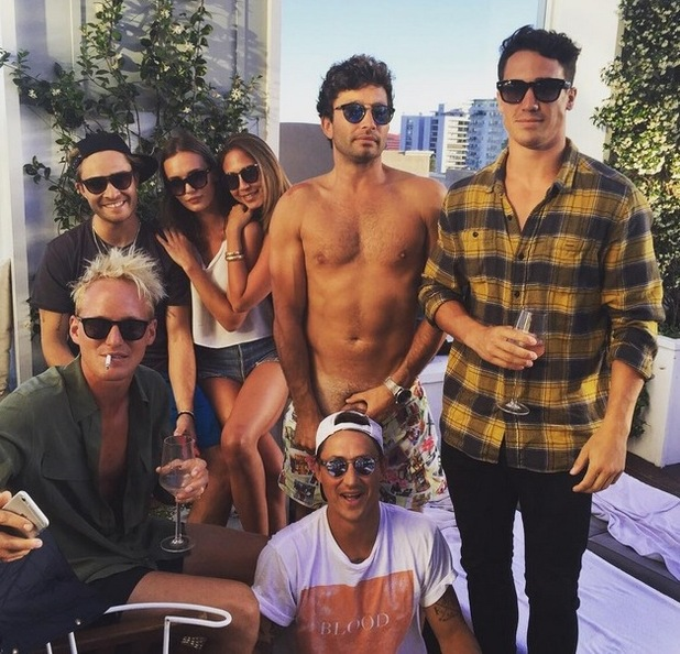 Gossip Girl star Ed Westwick hangs out with some of the cast of Made In Chelsea in LA - 14 July 2015.