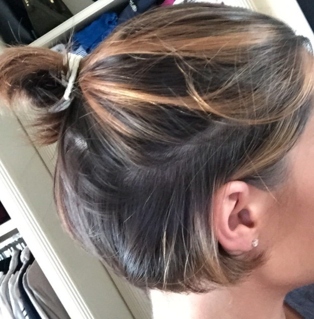 Frankie Bridge posts picture of mini ponytail to Instagram, 16th July 2015