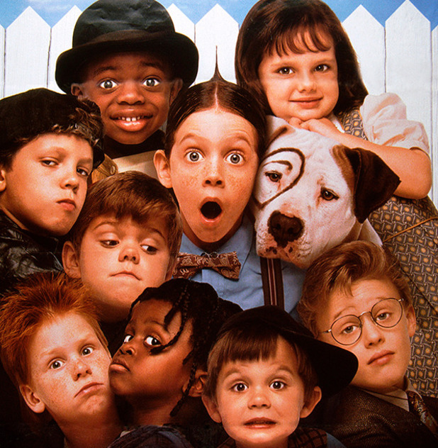 THE LITTLE RASCALS, U.S. poster, clockwise from top left: Kevin Jamal Woods, Bug Hall, Brittany Ashton-Holmes, Petey the dog, Blake McIver Ewing, Zachary Mabry, Ross Elliot Bagley, Blake Jeremy Collins, Travis Tedford, Sam Saletta, 1994. ©Universal/courtesy Everett Collection 1990s