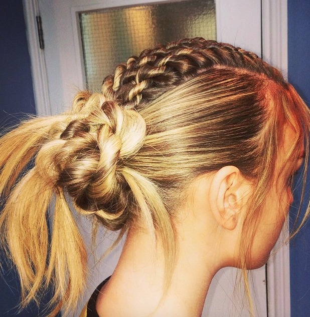 Perrie Edwards shows off braided updo, 15 July 2015