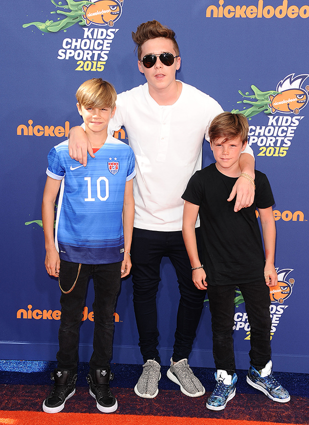 Brooklyn Beckham, Romeo Beckham and Cruz Beckham attend the Nickelodeon Kids' Choice Sports Awards at UCLA's Pauley Pavilion on July 16, 2015 in Westwood, California. (Photo by Jason LaVeris/FilmMagic)