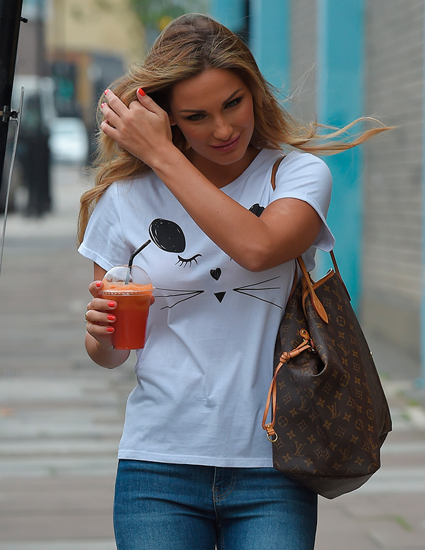 Samantha Faiers leaving a North London studio, carrying a huge Louis Vuitton handbag 13 July 2015