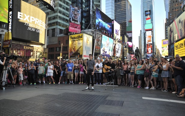 Nathan Sykes shooting a video in Times Square - 23 July 2015.